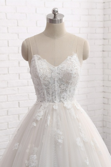 BMbridal Affordable Spaghetti Straps Sleeveless Lace Wedding Dresses A-line Tulle Ruffles Bridal Gowns On Sale_5