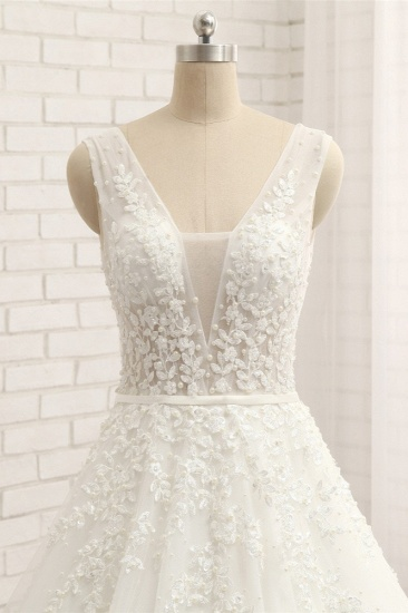 Gorgeous Straps Sleeveless White Wedding Dresses With Appliques A-line Tulle Ruffles Bridal Gowns Online_5