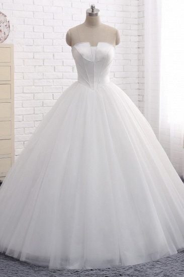 BMbridal Chic Ball Gown Strapless White Tulle Wedding Dress Sleeveless Bridal Gowns On Sale_1