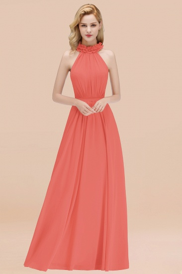 BMbridal Modest High-Neck Halter Ruffle Chiffon Bridesmaid Dresses Affordable_7