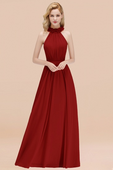 Modest High-Neck Halter Ruffle Chiffon Bridesmaid Dresses Affordable_48