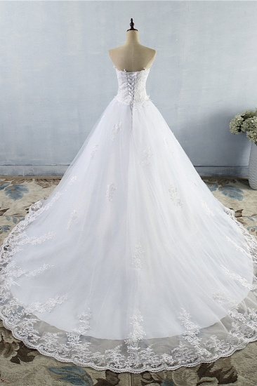 Stylish Strapless Sweetheart A-Line Wedding Dress Sleeveless Appliques Bridal Gowns Online_3