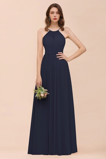 BMbridal Gorgeous Chiffon Halter Ruffle Affordable Long Bridesmaid Dress_28