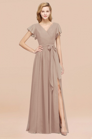 BMbridal Burgundy V-Neck Long Bridesmaid Dress With Short-Sleeves_16