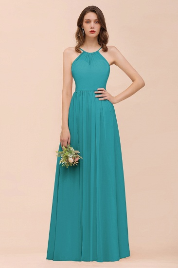 BMbridal Gorgeous Chiffon Halter Ruffle Affordable Long Bridesmaid Dress_32