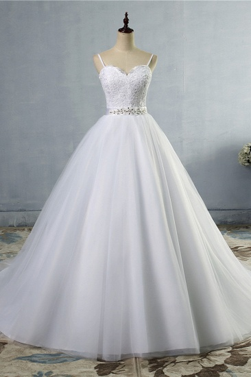 Elegant Spaghetti Straps Sweetheart Wedding Dress White Tulle Appliques Bridal Gowns with Beadings Sash