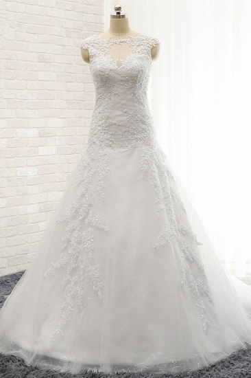 Modest Sleeveless Jewel Wedding Dresses With Appliques White Mermaid Bridal Gowns On Sale_1