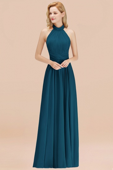 Gorgeous High-Neck Halter Backless Bridesmaid Dress Dusty Rose Chiffon Maid of Honor Dress_27