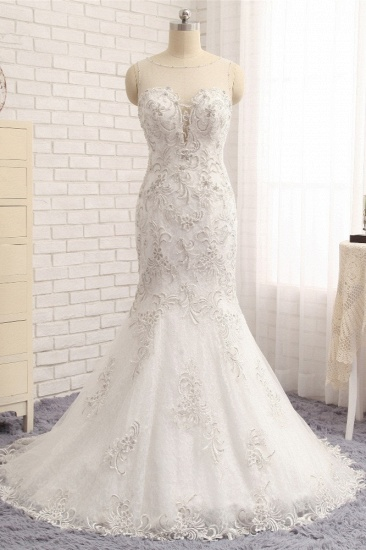 BMbridal Elegant White Sleeveless Jewel Wedding Dresses With Appliques Mermaid Lace Bridal Gowns Online_1
