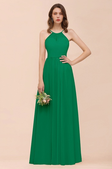 BMbridal Gorgeous Chiffon Halter Ruffle Affordable Long Bridesmaid Dress_49