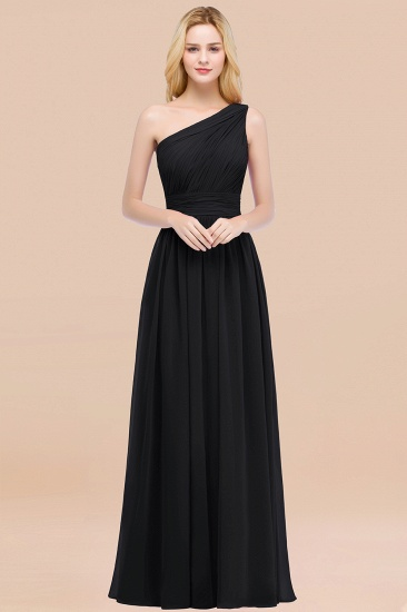 Chic One-shoulder Sleeveless Burgundy Chiffon Bridesmaid Dresses Online_29