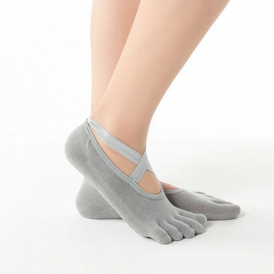BMbridal 3 Pairs Comfortable Cotton Long One-size Yoga Socks Five-finger Wear-resistant Non-slip Four Season Breathable Split Toe Point_12