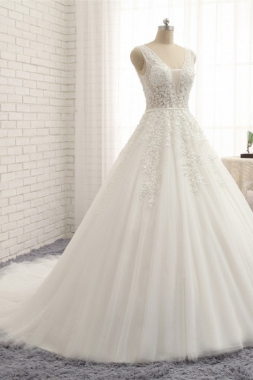 Gorgeous Straps Sleeveless White Wedding Dresses With Appliques A-line Tulle Ruffles Bridal Gowns Online_4