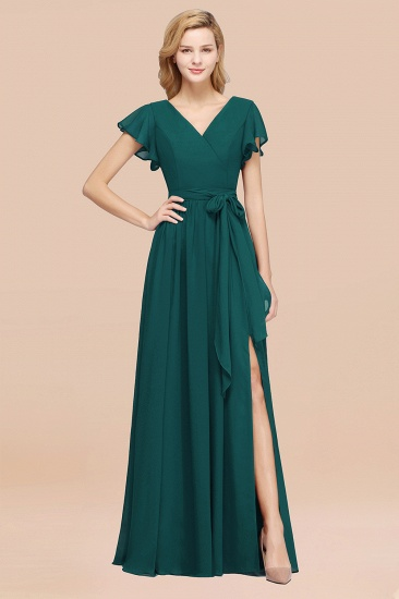 BMbridal Burgundy V-Neck Long Bridesmaid Dress With Short-Sleeves_33