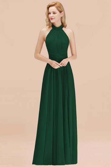 BMbridal Gorgeous High-Neck Halter Backless Bridesmaid Dress Dusty Rose Chiffon Maid of Honor Dress_31