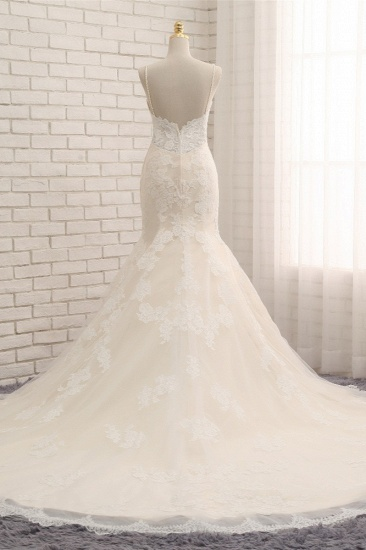 Sexy Spaghetti Straps Mermaid Wedding Dresses Sleeveless Lace Bridal Gowns With Appliques Online_3