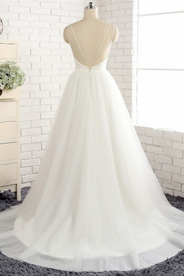 Affordable Spaghetti Straps White Wedding Dresses A-line Tulle Ruffles Bridal Gowns On Sale_3