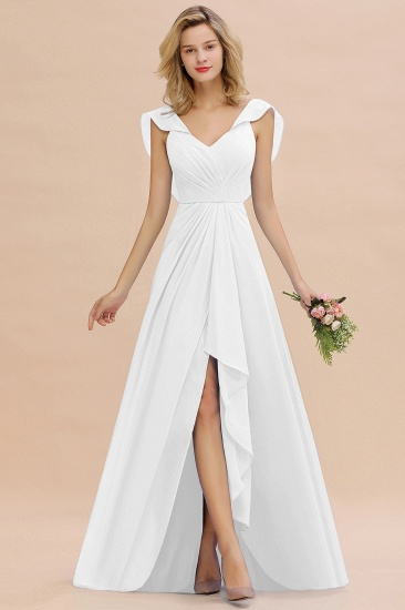 BMbridal Modest Hi-Lo V-Neck Ruffle Long Bridesmaid Dress with Slit_1