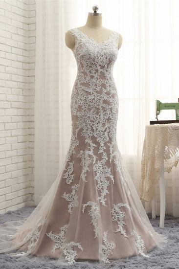 BMbridal Affordable Straps V-Neck Tulle Appliques Wedding Dress Sleeveless Lace Bridal Gowns On Sale_4