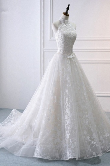 BMbridal Elegant A-Line Halter Tulle White Wedding Dress Sleeveless Appliques Bridal Gowns On Sale_4