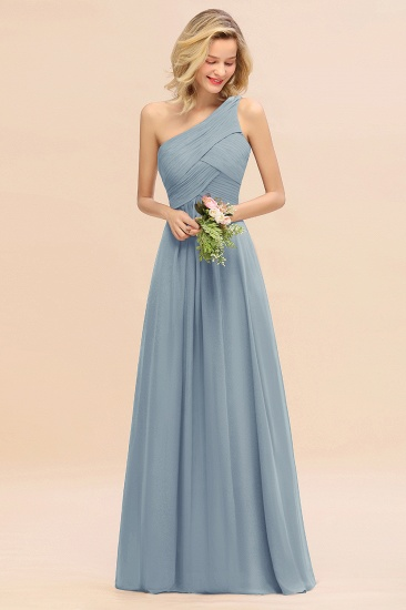 Chic One Shoulder Ruffle Grape Chiffon Bridesmaid Dresses Online_40