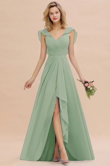 Modest Hi-Lo V-Neck Ruffle Long Bridesmaid Dress with Slit_41