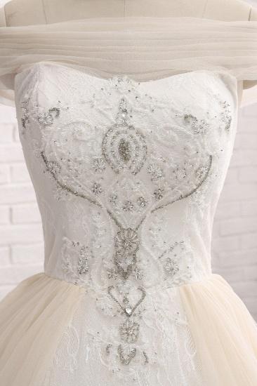 BMbridal Unique Champagne Bateau Lace Wedding Dresses With Appliques Tulle Ruffles Bridal Gowns Online_5