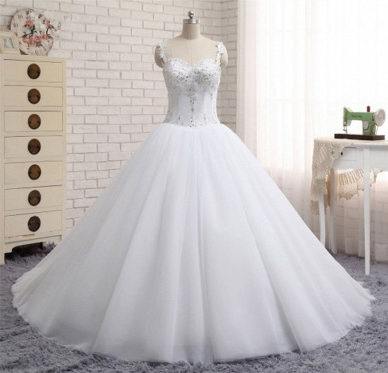 BMbridal Stunning White Tulle Lace Wedding Dress Strapless Sweetheart Beadings Bridal Gowns with Appliques_7