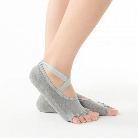 BMbridal 3 Pairs Comfortable Cotton Long One-size Yoga Socks Five-finger Wear-resistant Non-slip Four Season Breathable Split Toe Point_4