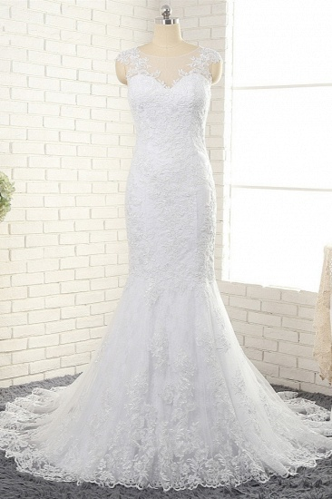 BMbridal Gorgeous White Mermaid Lace Wedding Dresses With Appliques Jewel Sleeveless Bridal Gowns Online_2