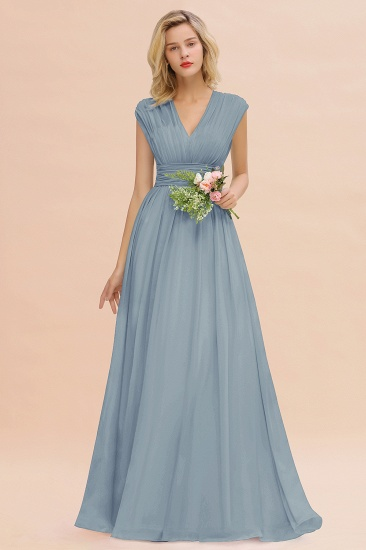 Elegant Chiffon V-Neck Ruffle Long Bridesmaid Dresses Affordable_40
