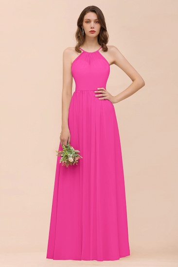 BMbridal Gorgeous Chiffon Halter Ruffle Affordable Long Bridesmaid Dress_9