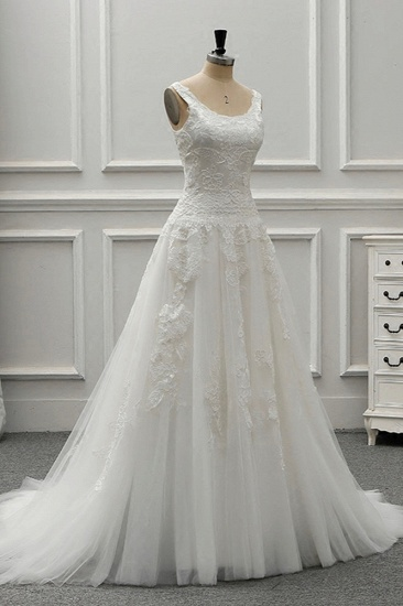 BMbridal Chic Straps Jewel Tulle Lace Wedding Dress Sleeveless Appliques White Bridal Gowns On Sale_5