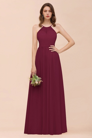 BMbridal Gorgeous Chiffon Halter Ruffle Affordable Long Bridesmaid Dress_44