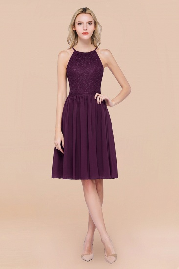 Lovely Burgundy Lace Short Bridesmaid Dress With Spaghetti-Straps_20