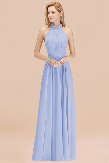 Gorgeous High-Neck Halter Backless Bridesmaid Dress Dusty Rose Chiffon Maid of Honor Dress_22