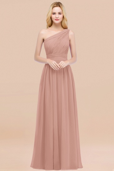 Chic One-shoulder Sleeveless Burgundy Chiffon Bridesmaid Dresses Online_6