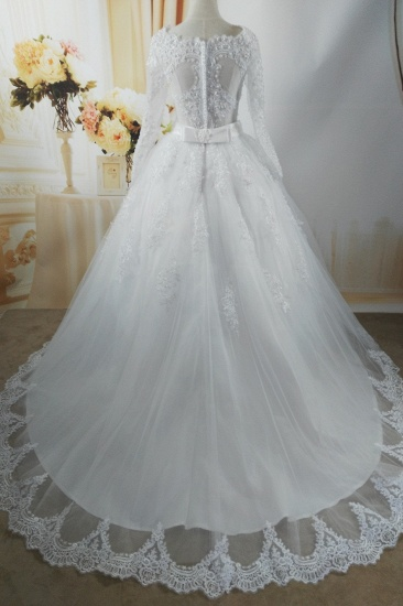 BMbridal Gorgeous Tulle Lace White Wedding Dress Long Sleeves Appliques Bridal Gowns with Pearls_3