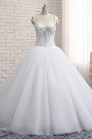 BMbridal Stunning White Tulle Lace Wedding Dress Strapless Sweetheart Beadings Bridal Gowns with Appliques_1