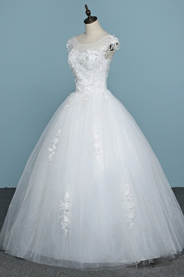 BMbridal Chic Jewel Tulle Lace White Wedding Dress Sleeveless Appliques Bridal Gowns with Flowers Online_5