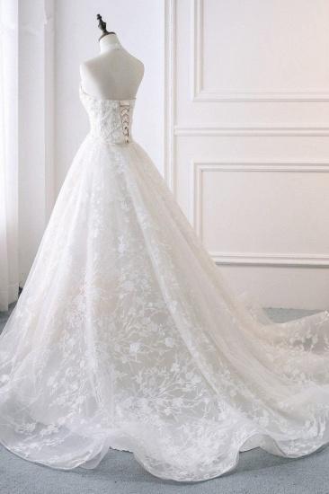 BMbridal Elegant A-Line Halter Tulle White Wedding Dress Sleeveless Appliques Bridal Gowns On Sale_5