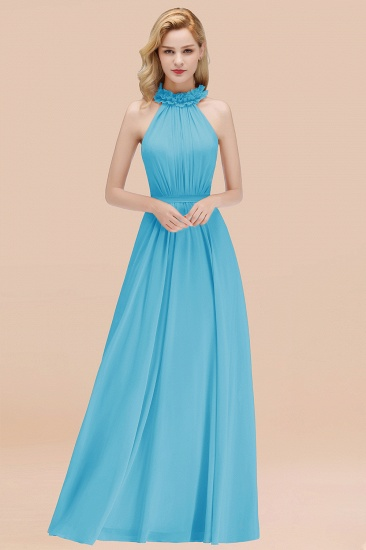 Modest High-Neck Halter Ruffle Chiffon Bridesmaid Dresses Affordable_24