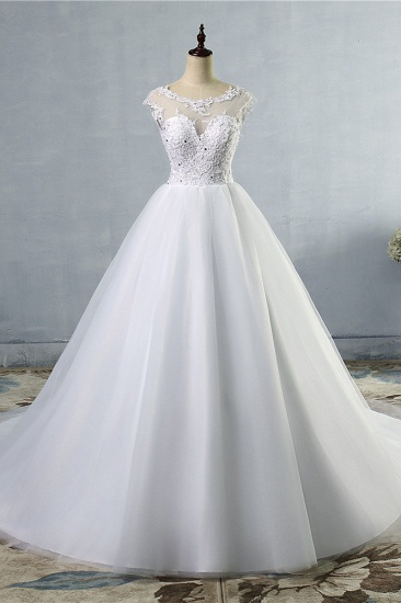 Elegant Jewel Tulles Lace Wedding Dress Sleeveless Appliques Beadings Bridal Gowns Online