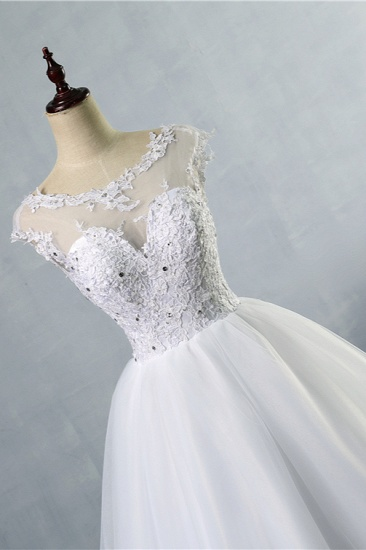 BMbridal Elegant Jewel Tulles Lace Wedding Dress Sleeveless Appliques Beadings Bridal Gowns Online_4