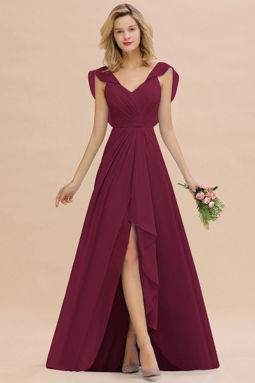 Modest Hi-Lo V-Neck Ruffle Long Bridesmaid Dress with Slit_44