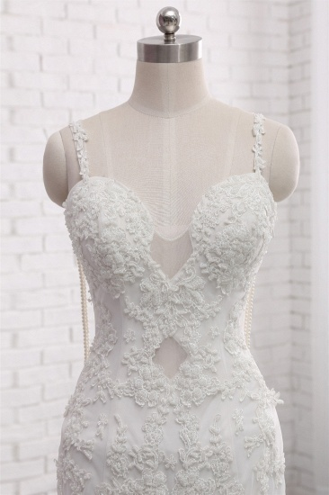 BMbridal Gorgeous Spaghetti Straps V-Neck Mermaid Wedding Dress White Lace Appliques Sleeveless Bridal Gowns Online_5