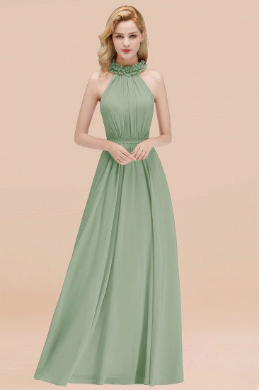 Modest High-Neck Halter Ruffle Chiffon Bridesmaid Dresses Affordable_41
