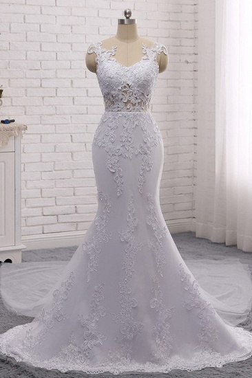 BMbridal Stylish Jewel Mermaid Lace Appliques Wedding Dress White Sleeveless Beadings Bridal Gowns with Overskirt On Sale_4