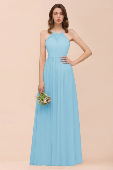 BMbridal Gorgeous Chiffon Halter Ruffle Affordable Long Bridesmaid Dress_23