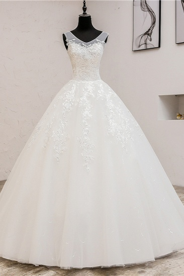 BMbridal Glamorous Sweetheart Tulle Lace Wedding Dress Ball Gown Sleeveless Appliques Ball Gowns On Sale_1